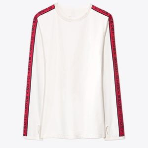 Tory Burch Sport Banner Long Sleeve Top Size Small